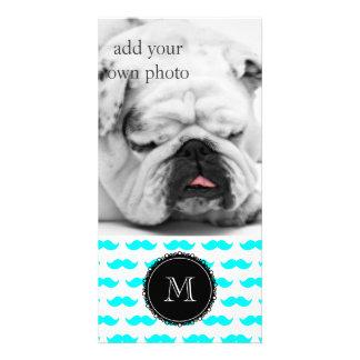 Aqua Blue Mustache Pattern, Black White Monogram Photo Card