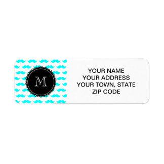 Aqua Blue Mustache Pattern, Black White Monogram Return Address Label
