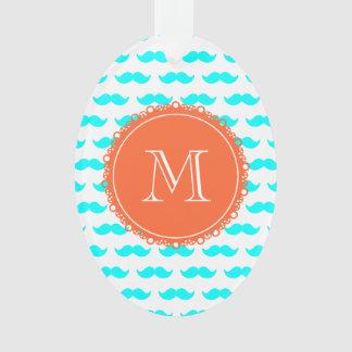 Aqua Blue Mustache Pattern, Coral White Monogram