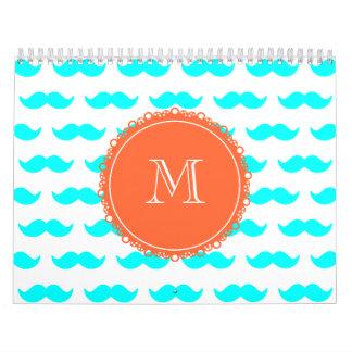 Aqua Blue Mustache Pattern, Coral White Monogram Calendar