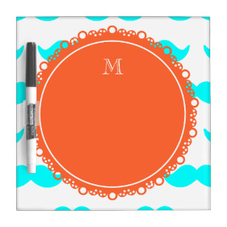 Aqua Blue Mustache Pattern, Coral White Monogram Dry Erase Whiteboards