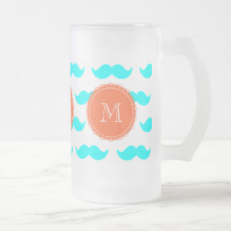 Aqua Blue Mustache Pattern, Coral White Monogram Frosted Glass Beer Mug