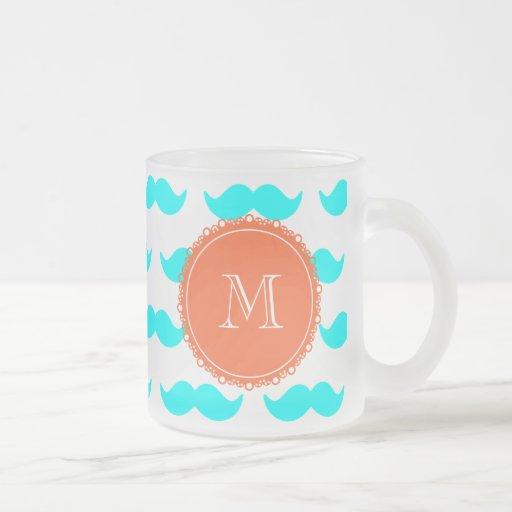 Aqua Blue Mustache Pattern, Coral White Monogram Mugs