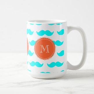 Aqua Blue Mustache Pattern, Coral White Monogram Classic White Coffee Mug