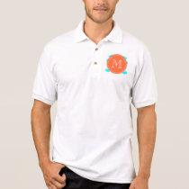 Aqua Blue Mustache Pattern, Coral White Monogram Polo Shirt
