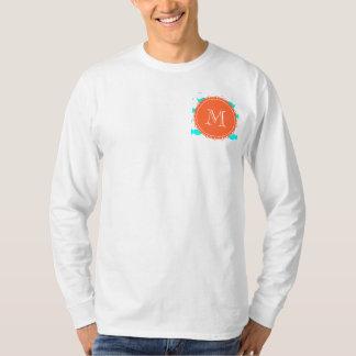 Aqua Blue Mustache Pattern, Coral White Monogram T-Shirt