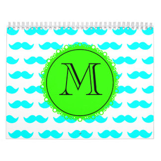 Aqua Blue Mustache Pattern, Green Black Monogram Wall Calendars