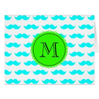 Aqua Blue Mustache Pattern, Green Black Monogram Card