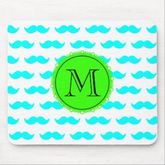 Aqua Blue Mustache Pattern, Green Black Monogram Mouse Pad