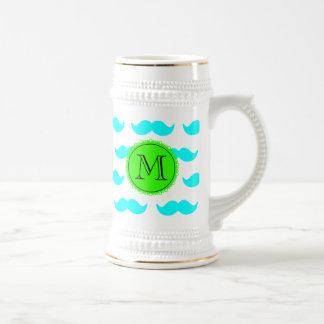 Aqua Blue Mustache Pattern, Green Black Monogram 18 Oz Beer Stein