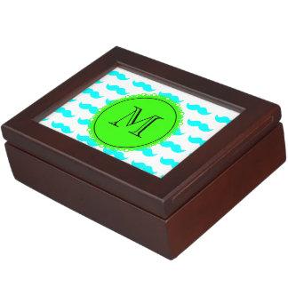 Aqua Blue Mustache Pattern Green Black Monogram Memory Box