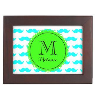 Aqua Blue Mustache Pattern Green Black Monogram Keepsake Boxes