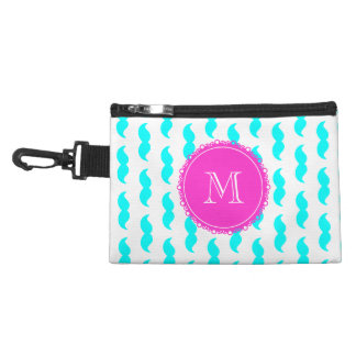 Aqua Blue Mustache Pattern, Hot Pink Monogram Accessories Bag