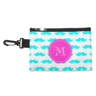 Aqua Blue Mustache Pattern, Hot Pink Monogram Accessories Bags