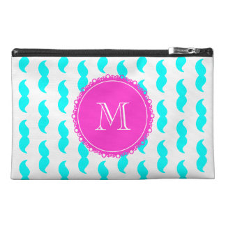 Aqua Blue Mustache Pattern, Hot Pink Monogram Travel Accessory Bag