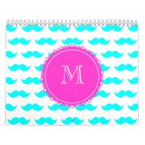 Aqua Blue Mustache Pattern, Hot Pink Monogram Calendar