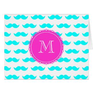 Aqua Blue Mustache Pattern, Hot Pink Monogram Card