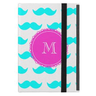 Aqua Blue Mustache Pattern, Hot Pink Monogram iPad Mini Case