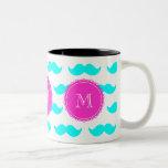 Aqua Blue Mustache Pattern, Hot Pink Monogram Two-Tone Coffee Mug