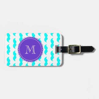 Aqua Blue Mustache Pattern, Purple White Monogram Bag Tag