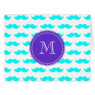 Aqua Blue Mustache Pattern, Purple White Monogram Card