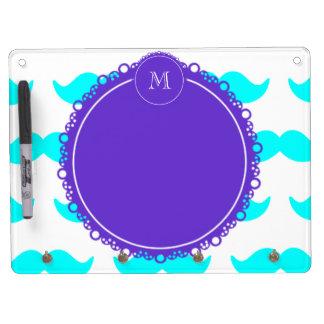 Aqua Blue Mustache Pattern, Purple White Monogram Dry Erase Boards
