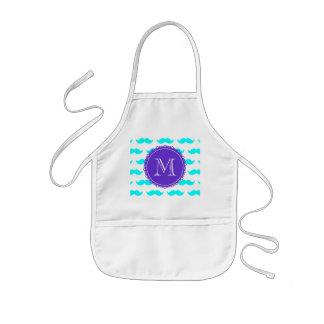 Aqua Blue Mustache Pattern, Purple White Monogram Kids' Apron