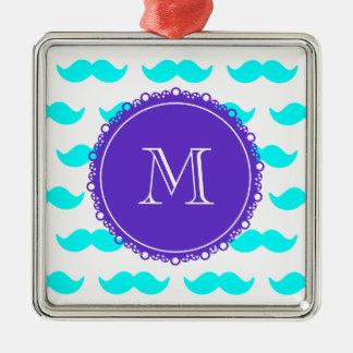 Aqua Blue Mustache Pattern, Purple White Monogram Christmas Tree Ornament
