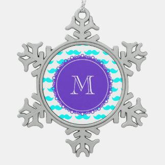 Aqua Blue Mustache Pattern, Purple White Monogram Ornament