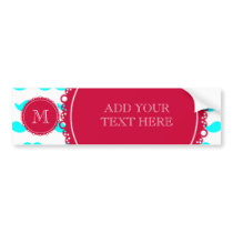 Aqua Blue Mustache Pattern, Red White Monogram Bumper Sticker