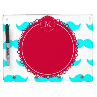 Aqua Blue Mustache Pattern, Red White Monogram Dry-Erase Boards