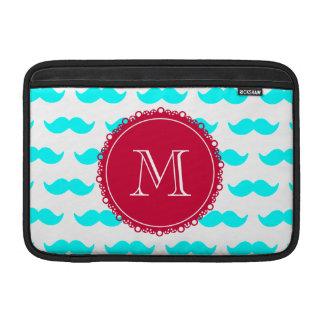 Aqua Blue Mustache Pattern, Red White Monogram MacBook Air Sleeve