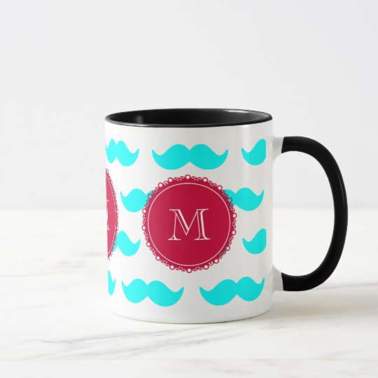 Aqua Blue Mustache Pattern, Red White Monogram Mug