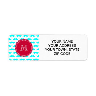 Aqua Blue Mustache Pattern, Red White Monogram Return Address Label