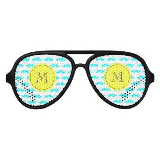 Aqua Blue Mustache Pattern, Yellow Black Monogram Aviator Sunglasses
