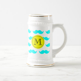 Aqua Blue Mustache Pattern, Yellow Black Monogram Beer Stein