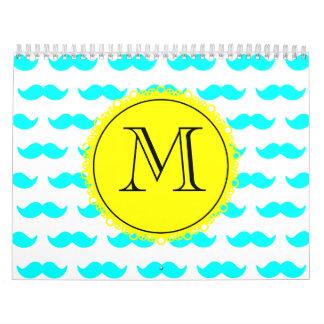 Aqua Blue Mustache Pattern, Yellow Black Monogram Calendar