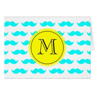 Aqua Blue Mustache Pattern, Yellow Black Monogram Greeting Card