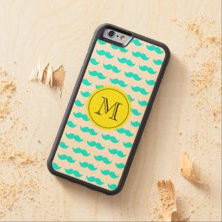 Aqua Blue Mustache Pattern, Yellow Black Monogram Carved Maple iPhone 6 Bumper Case