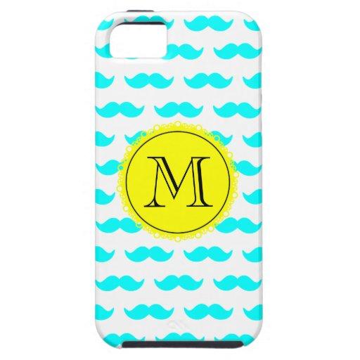 Aqua Blue Mustache Pattern, Yellow Black Monogram iPhone 5 Covers