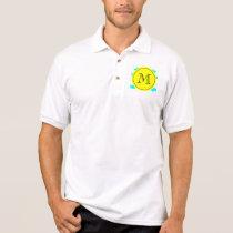 Aqua Blue Mustache Pattern, Yellow Black Monogram Polo Shirt
