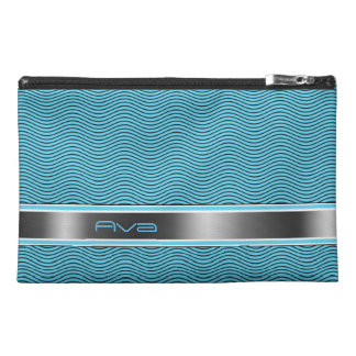 Aqua Blue Named Waves Travel Accessory Bag