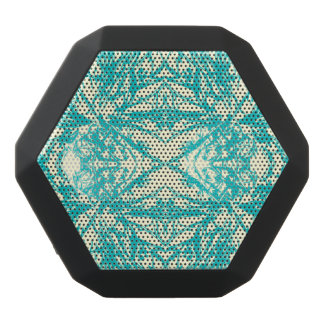 Aqua Blue Off White Snowflake Kaleidoscope Design Black Bluetooth Speaker