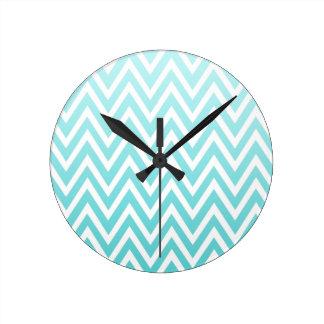 Aqua blue ombre chevron zigzag stripes clock