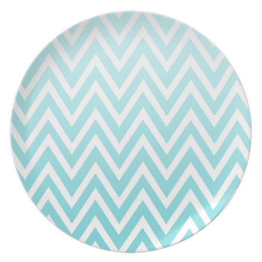 Aqua blue ombre chevron zigzag stripes plate