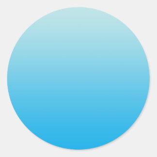 Aqua Blue Ombre Classic Round Sticker
