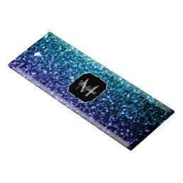 Aqua blue Ombre glitter sparkles Monogram