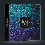"""Aqua blue Ombre glitter sparkles Monogram 3 Ring Binder<br><div class=""""desc"""">Personalize with your initial and name. Beautiful girly glamorous dark and light blue shiny glitters sparkles. Photo of cyan and dark blue sparkles not actual glitter!</div>"""