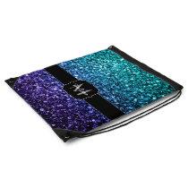 Aqua blue Ombre glitter sparkles Monogram Drawstring Bag