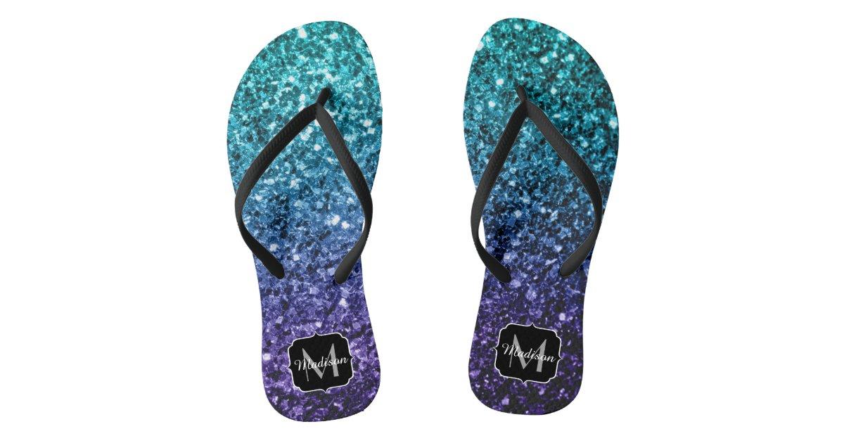 Aqua Blue Ombre Glitter Sparkles Monogram Flip Flops Zazzle Com